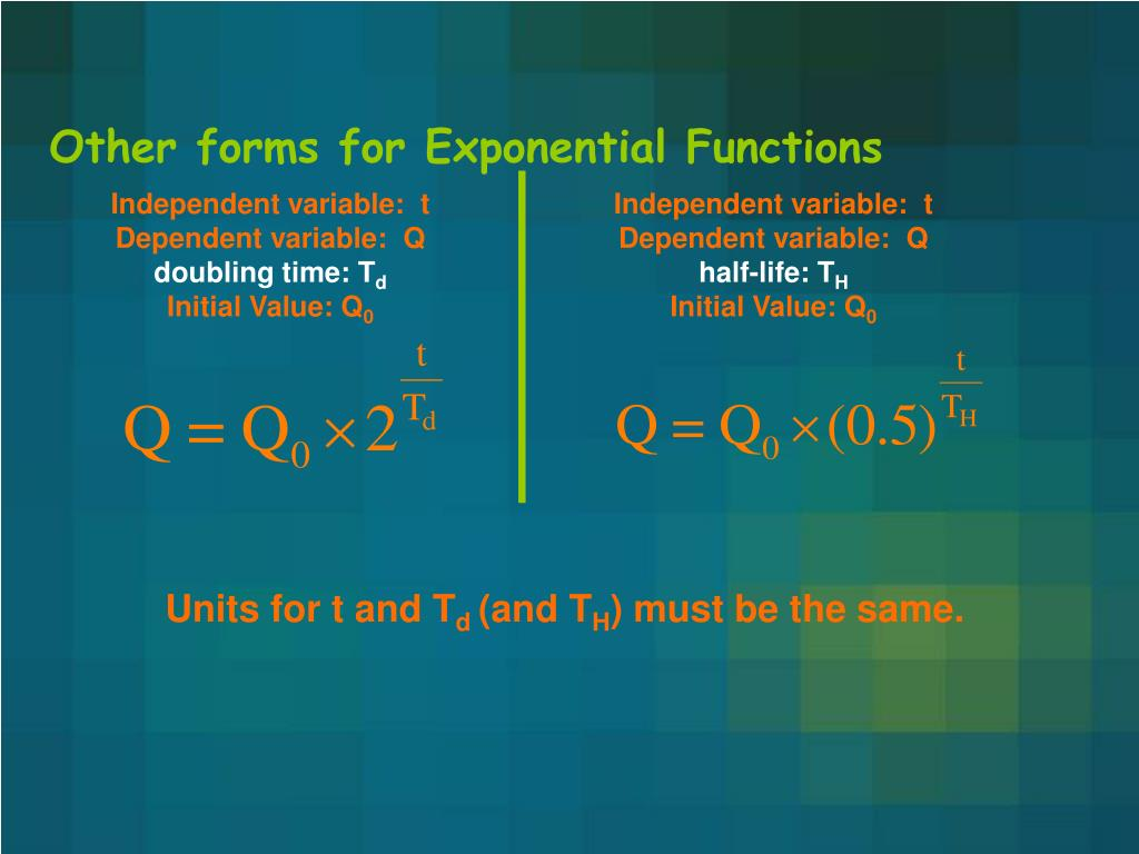 Other forms for Exponential Functions