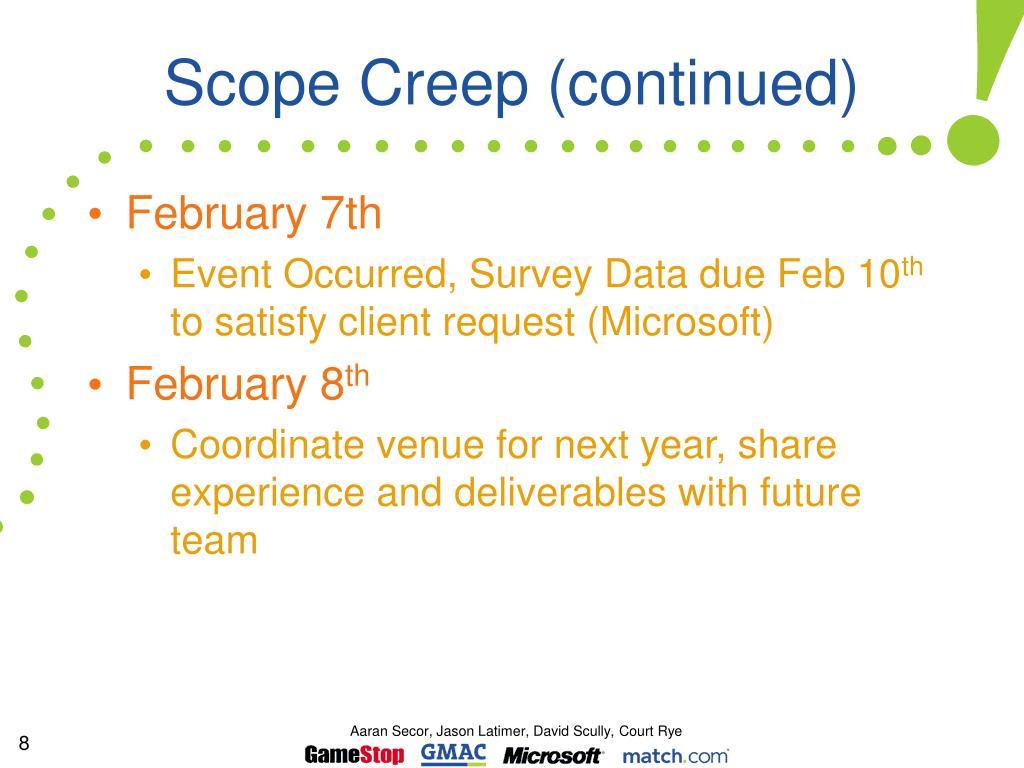 Scope Creep (continued)