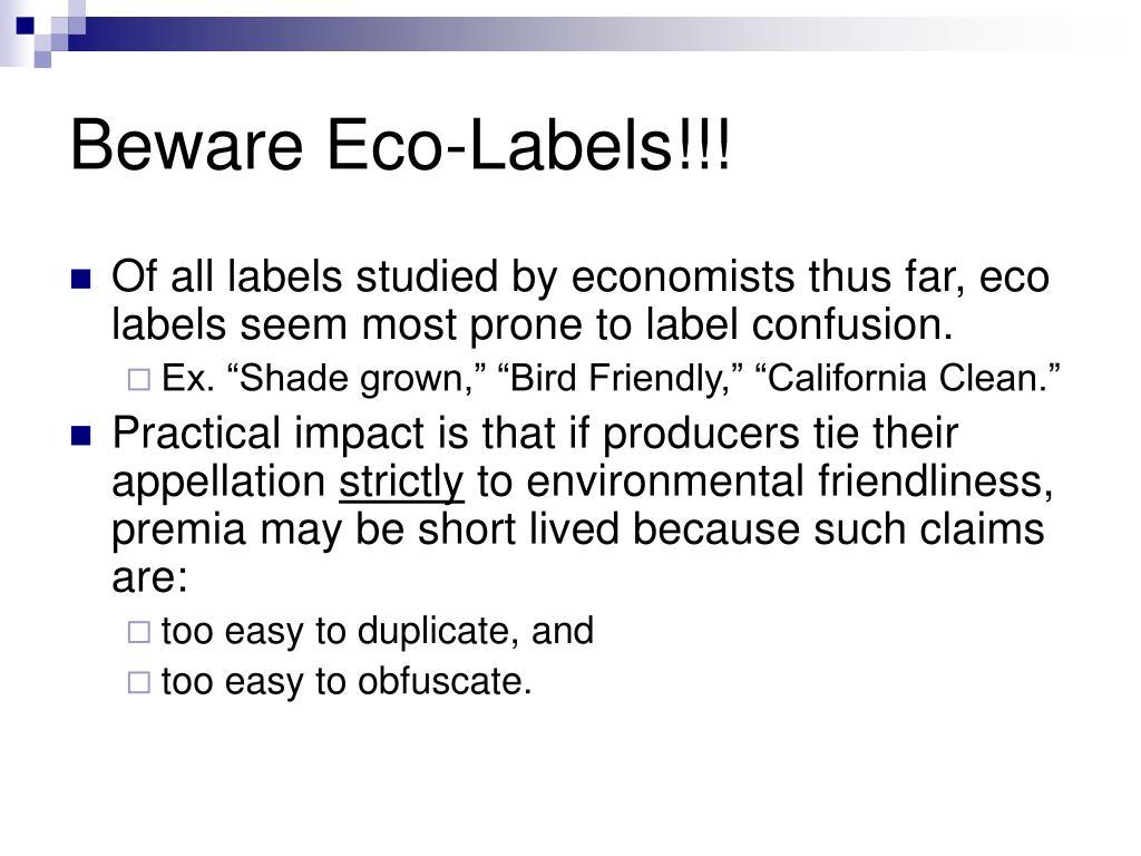 Beware Eco-Labels!!!