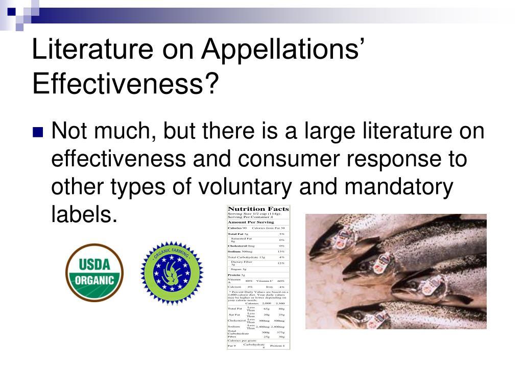 Literature on Appellations' Effectiveness?