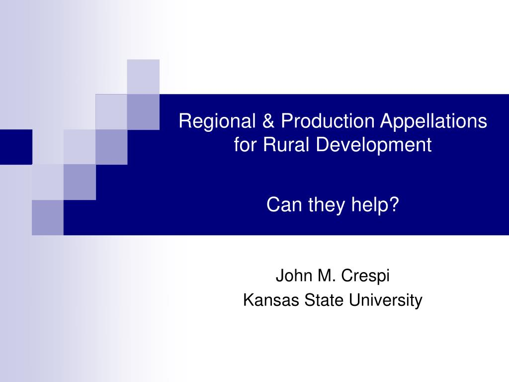 Regional & Production Appellations for Rural Development