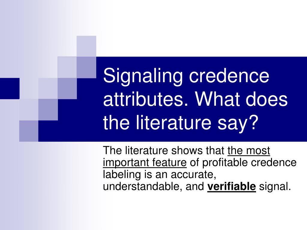 Signaling credence attributes. What does the literature say?