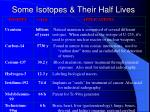 some isotopes their half lives