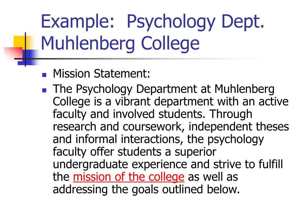 Example:  Psychology Dept. Muhlenberg College