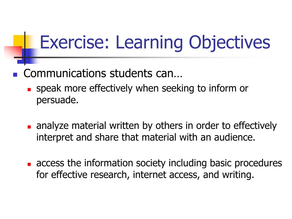 Exercise: Learning Objectives
