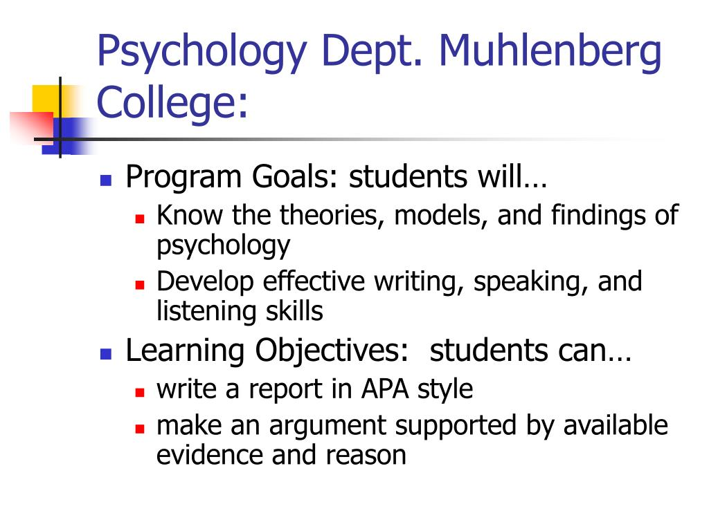 Psychology Dept. Muhlenberg College: