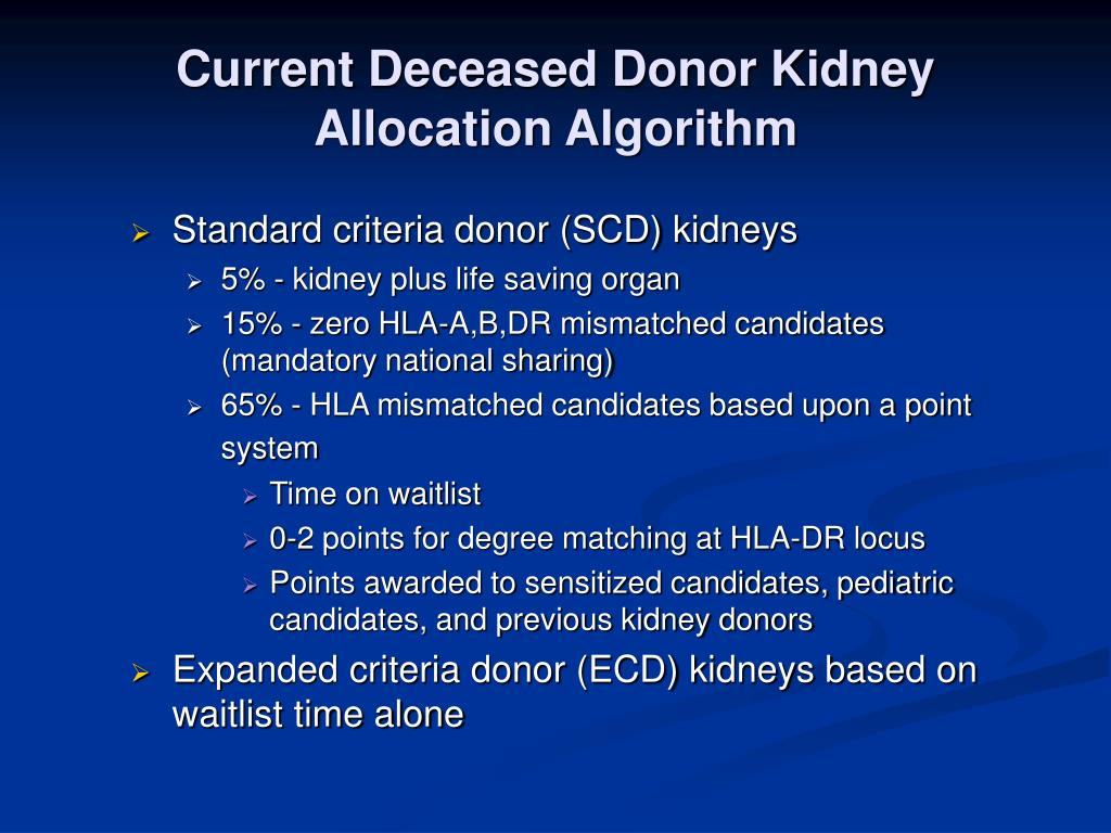 Current Deceased Donor Kidney Allocation Algorithm