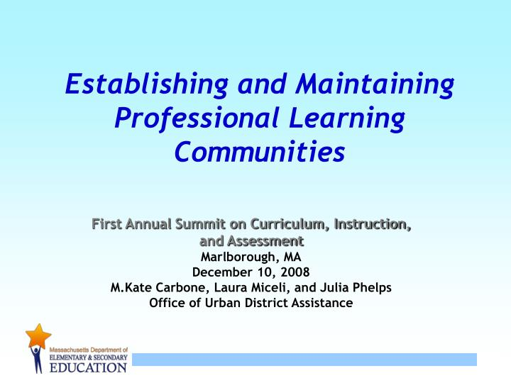 establishing and maintaining professional learning communities n.