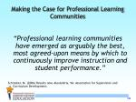 making the case for professional learning communities