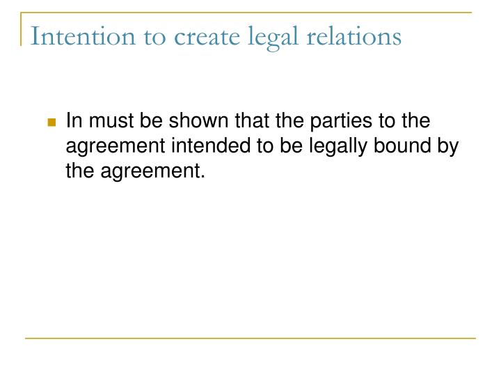 Ppt Intention To Create Legal Relations Powerpoint Presentation