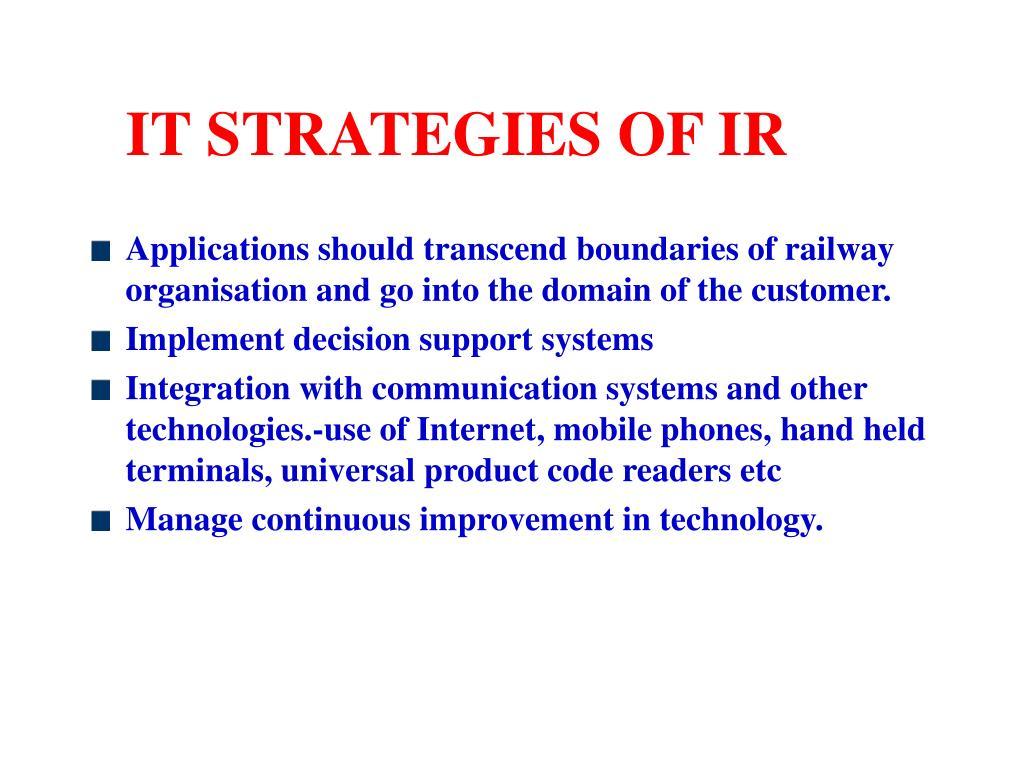 IT STRATEGIES OF IR