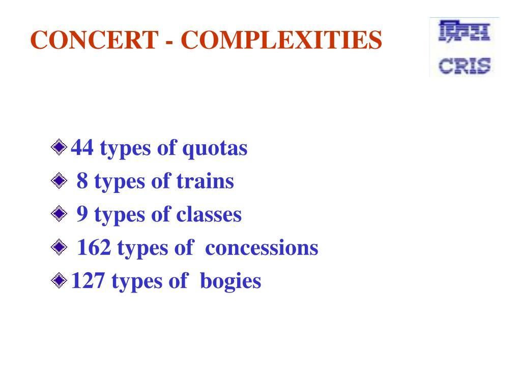 CONCERT - COMPLEXITIES