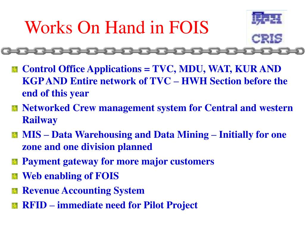 Works On Hand in FOIS