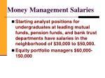money management salaries