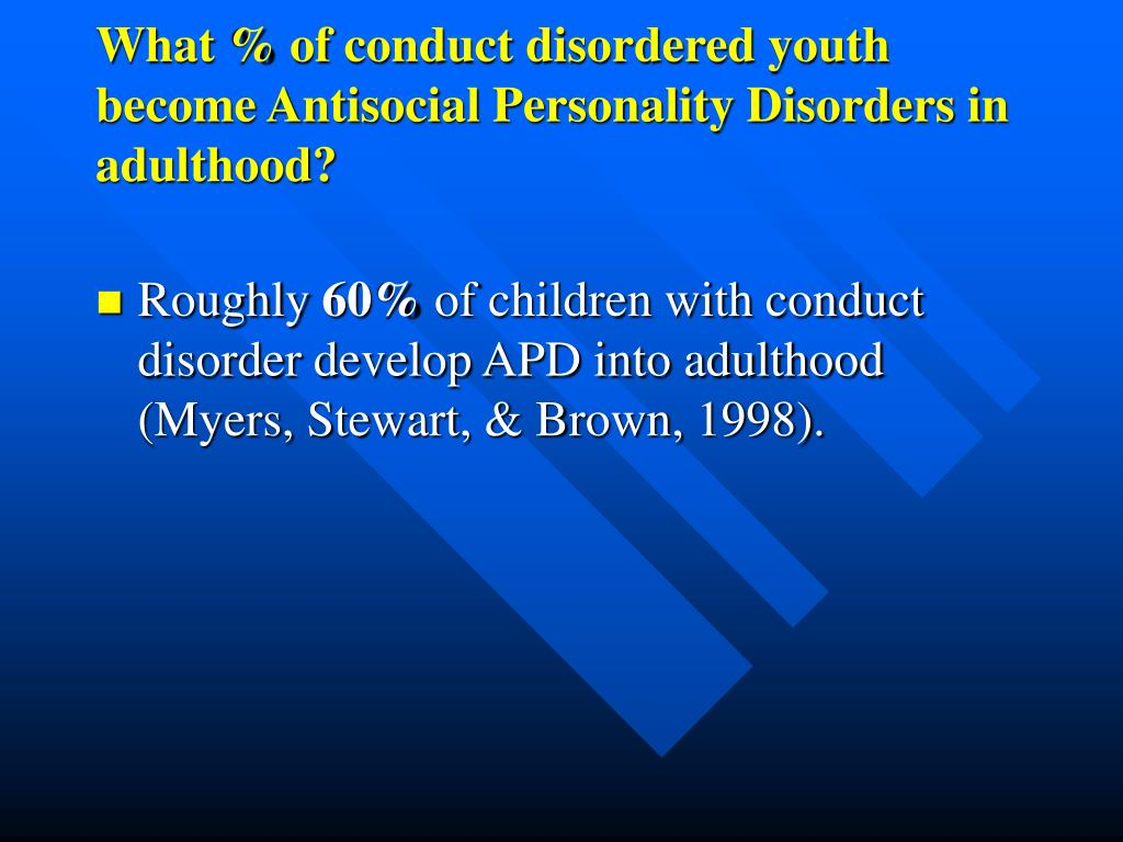 What % of conduct disordered youth become Antisocial Personality Disorders in adulthood?