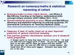 research on numeracy maths statistical reasoning of cohort