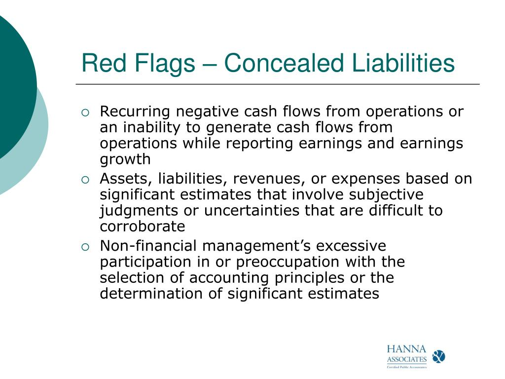 Red Flags – Concealed Liabilities
