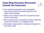 class blog promotes discussion outside the classroom