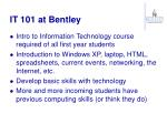 it 101 at bentley