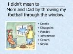 i didn t mean to mom and dad by throwing my football through the window