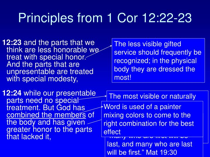 Principles from 1 cor 12 22 23
