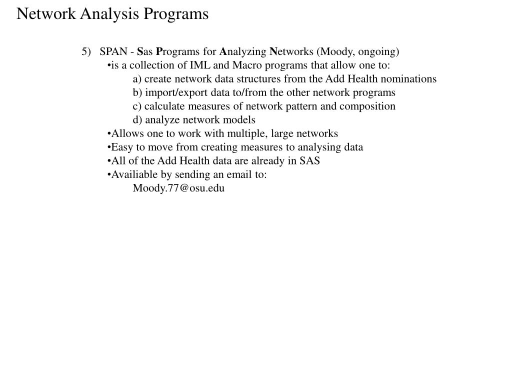 Network Analysis Programs
