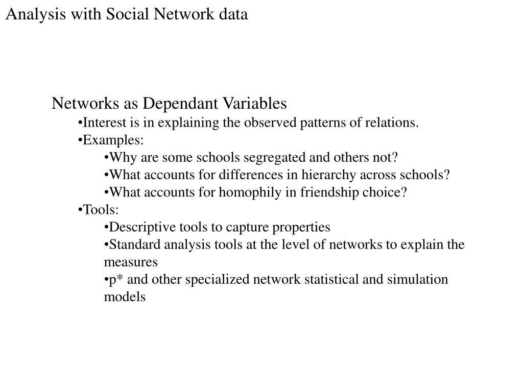 Analysis with Social Network data