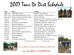 2007 tour de dirt schedule