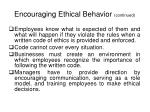 encouraging ethical behavior continued