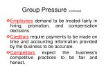 group pressure continued