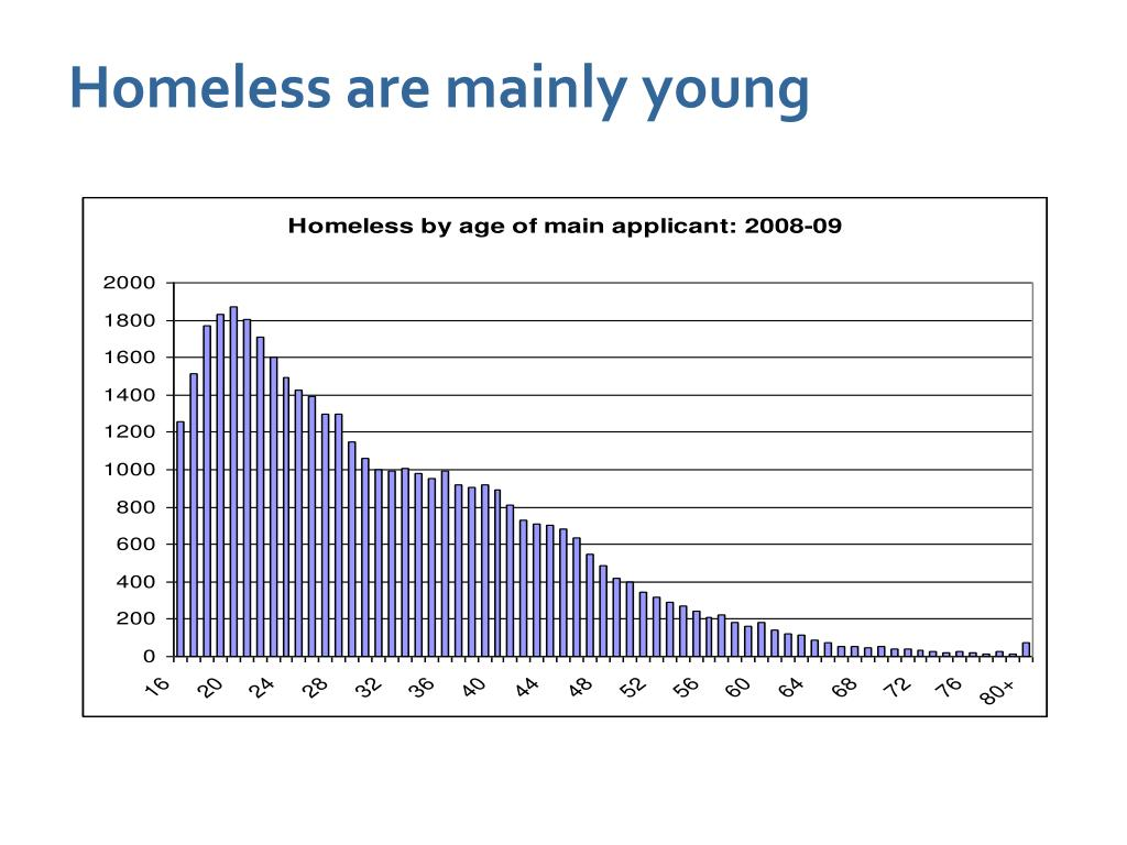 Homeless are mainly young