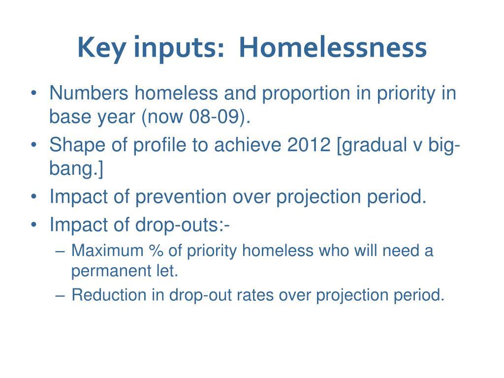 Key inputs:  Homelessness