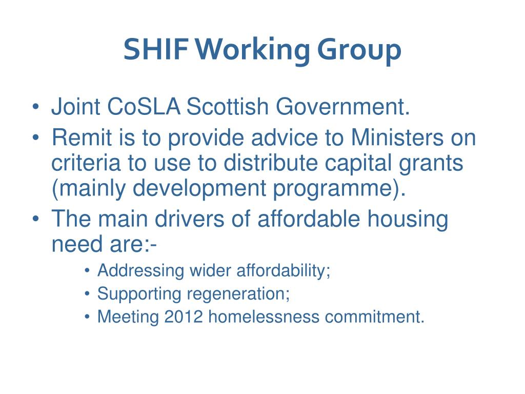 SHIF Working Group
