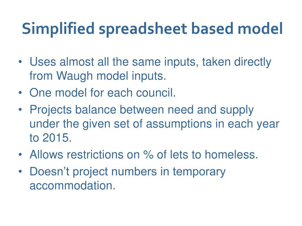Simplified spreadsheet based model