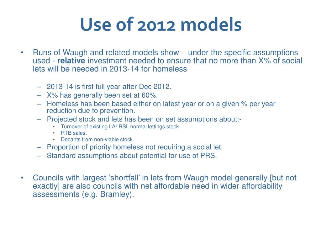 Use of 2012 models