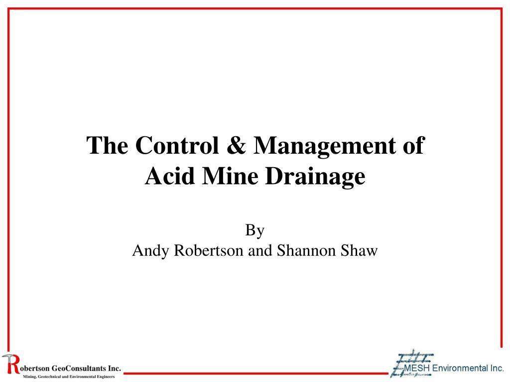 the control management of acid mine drainage