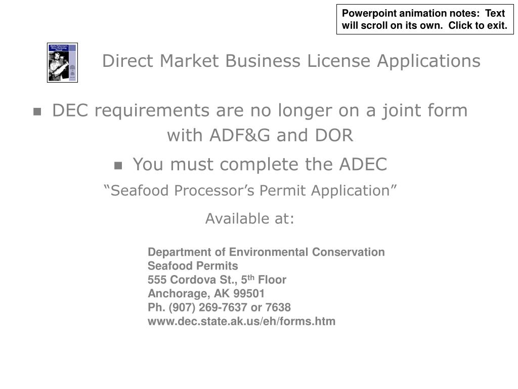 Direct Market Business License Applications