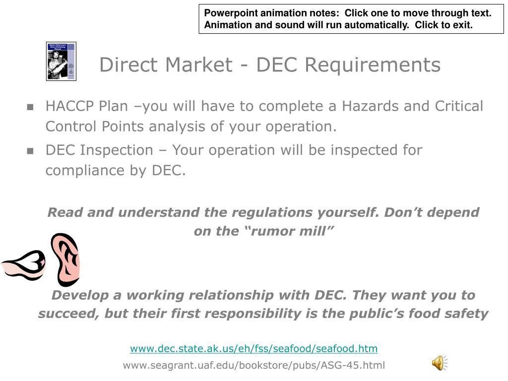 Direct Market - DEC Requirements
