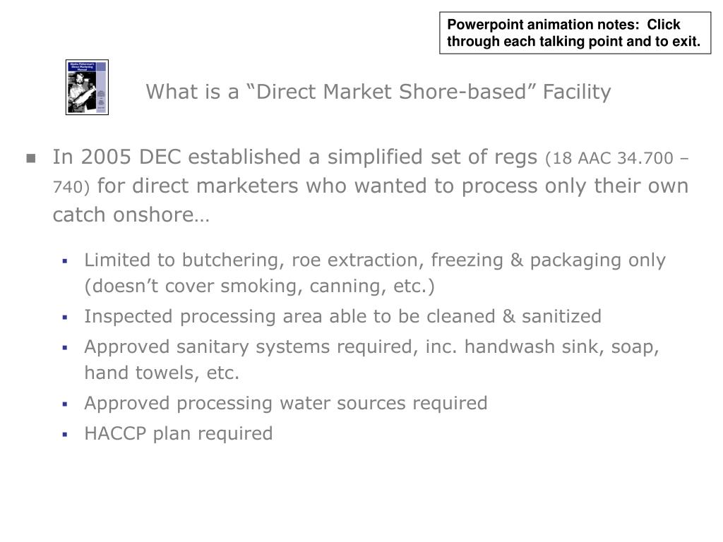 """What is a """"Direct Market Shore-based"""" Facility"""