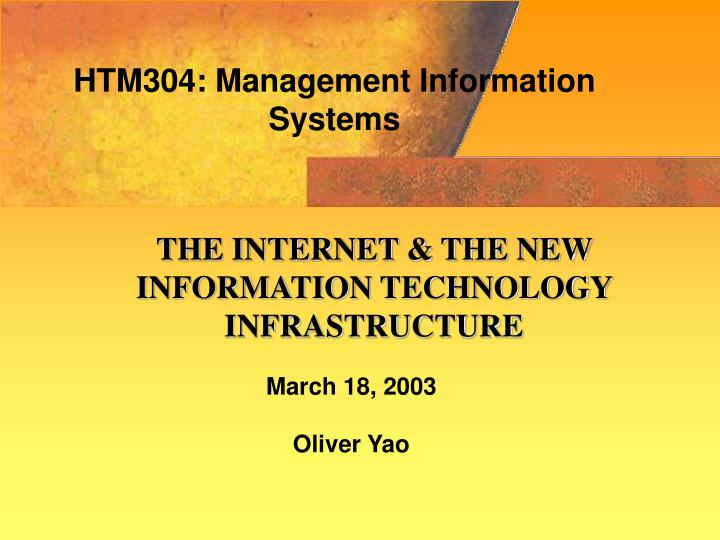 HTM304: Management Information Systems