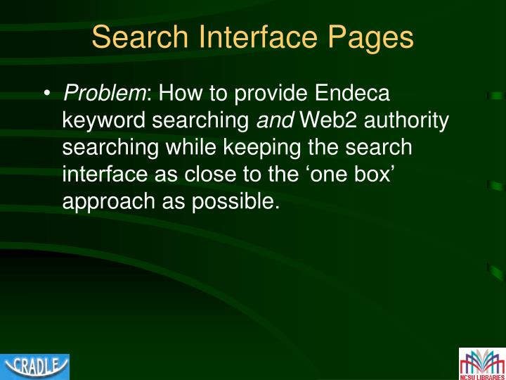 Search Interface Pages