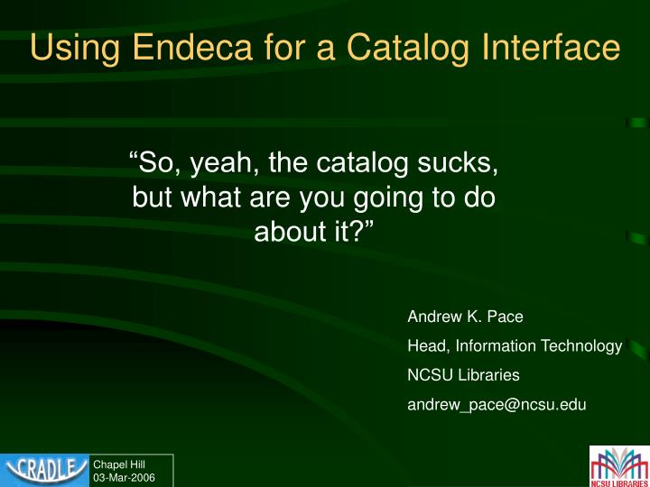Using endeca for a catalog interface