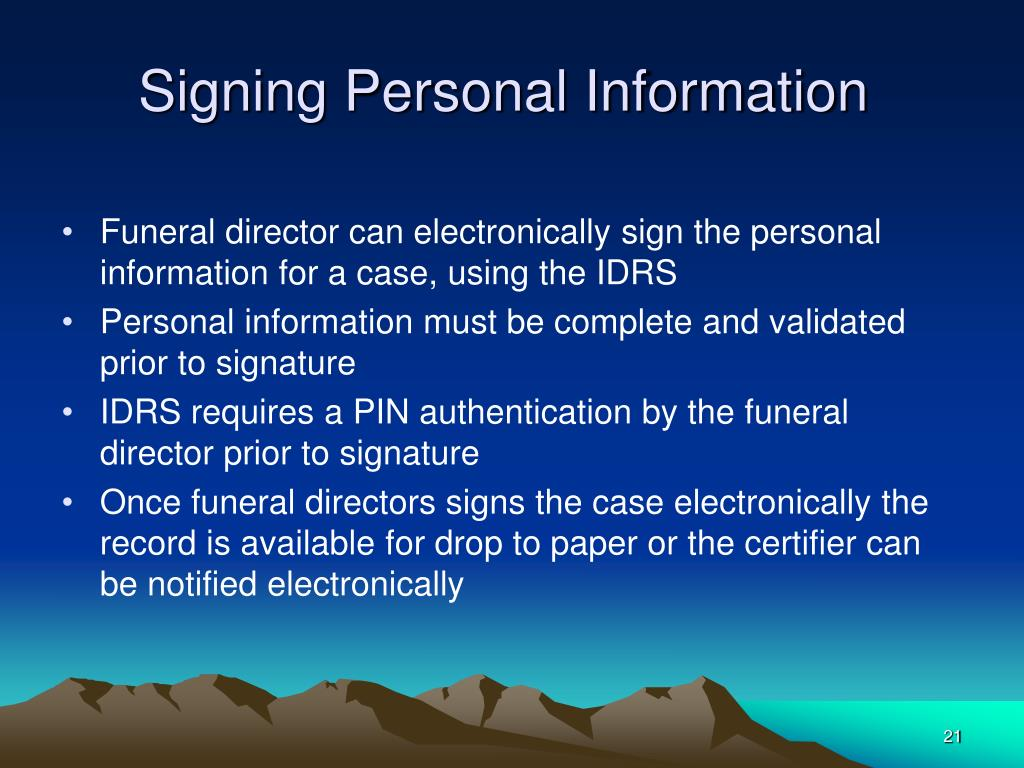 Signing Personal Information