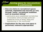 carving space for new practices entitlements