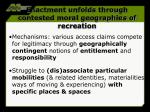 enactment unfolds through contested moral geographies of recreation