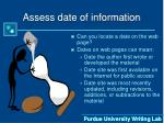 assess date of information