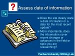 assess date of information22