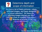 determine depth and scope of information19