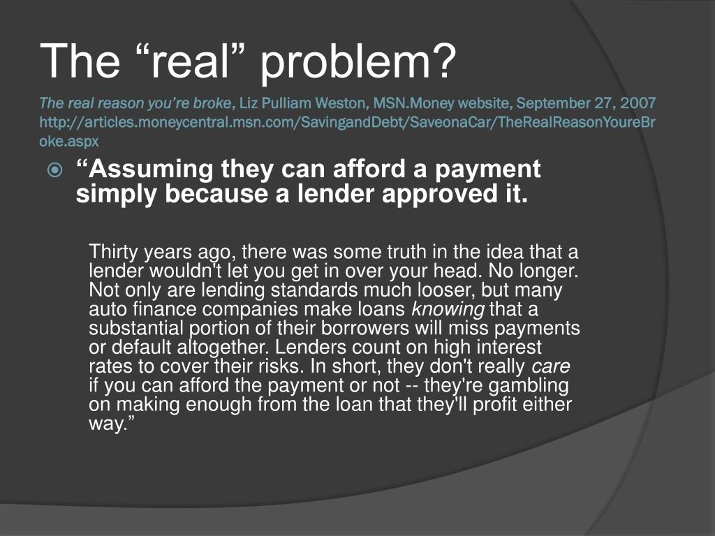"""The """"real"""" problem?"""