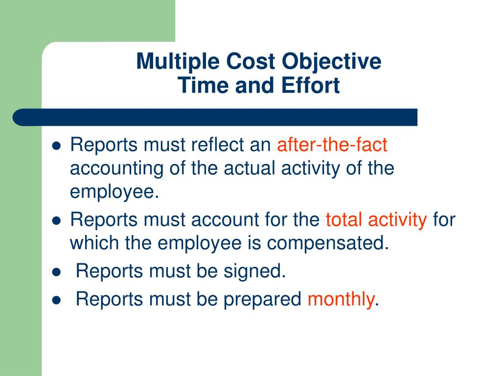 Multiple Cost Objective